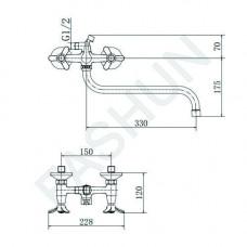 A2212-2  (смес. хром. д/ван.излив 7128S. переключение душ - корпус/дивертор/картридж, латунь)