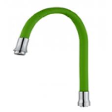 Гибкий силиконовый излив латунный (Зеленый )